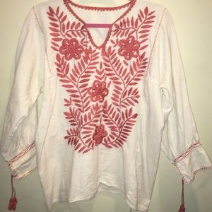 Floral Embroidery Linen Blouse